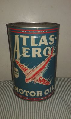 """Atlas Aero  Motor Oil Tin Can 12,5 """" Aeroplane  Rare"""