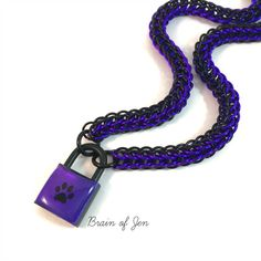 Unisex BDSM Slave Collar Purple with Black Paw Print Locking Chainmail Choker Pup Kitten Sub by BrainofJen on Etsy Wolf Paw Print, Wolf Tail, Collars Submissive, Slave Collar, Shades Of Violet, Day Collar, Purple Backgrounds, Chainmaille, Purple And Black
