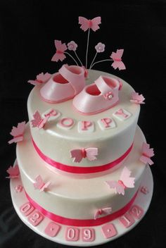 Booties And Butterflies Christening Cake Toppers · Girl Shower CakeBaby ...