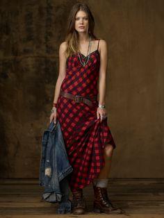 Plaid Cotton Slip Dress, Ralph Lauren.  Totes coo'.