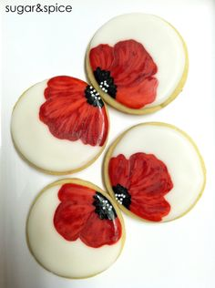 Poppy flowers favors - wedding/bridal/party - 12 rolled sugar cookies. $33.00, via Etsy.