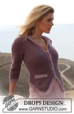 "DROPS jacket with ¾ sleeves in ""Silke-Alpaca"" and Rib borders in ""Cotton Viscose"". Size S – XXXL"