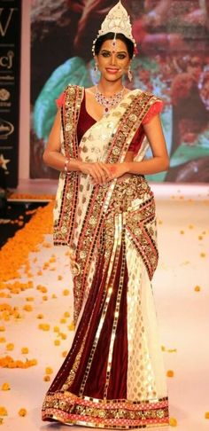 Shimmering maroon and white bridal saree