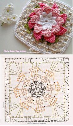 Web Server's Default Page Motifs - Diy Crafts - moonfer Motifs Granny Square, Granny Square Crochet Pattern, Crochet Diagram, Crochet Chart, Crochet Squares, Crochet Granny, Diy Crochet, Granny Squares, Crochet Motif Patterns