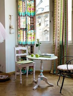 Colourful and unconventional, this home is a voluptuous vintage dream. We adore the rustic vintage cushions, rag rolled walls, patchwork curtains and Colorful Curtains, Boho Curtains, Bright Curtains, Deco Boheme, Living Spaces, Living Room, Eclectic Design, Eclectic Decor, Bohemian Interior