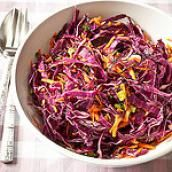 Purple Cabbage Slaw - olive oil instead of canola, lemon or lime juice instead of vinegar Gf Recipes, Great Recipes, Salad Recipes, Healthy Recipes, Delicious Recipes, Chicken Recipes, Tasty, Purple Cabbage Slaw, Foods For Abs