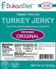Orginal Peppered Turkey Jerky: Dukan Classic Thin Cut Peppered Original Turkey Jerky makes a wonderful protein rich snack. Premium cuts of turkey breast are marinated with a delicious tamari soy sauce and black pepper. Fast Weight Loss Plan, Quick Weight Loss Diet, Weight Loss Water, Best Weight Loss Program, Help Losing Weight, Weight Loss Shakes, Weight Loss Detox, Reduce Weight, Best Weight Loss Supplement