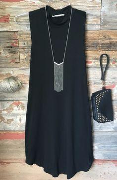 High Tide Tunic Dress: Black
