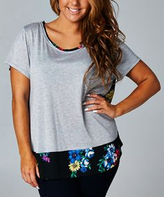 Look what I found on #zulily! Black Floral-Back Scoop Neck Top - Plus by Tua Plus #zulilyfinds