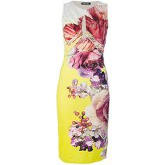 Roberto Cavalli Printed Sleeveless Dress ($890) ❤ liked on Polyvore