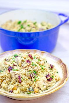 One pot Moroccan Chicken, Couscous and Vegetables is a quick dinner that is done in less than 30 minutes. Healthy, full of warm spices with burst of bright flavor from the cranberries and lemon juice.