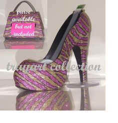 Pink Gold Zebra High Heel Shoe TAPE DISPENSER Stiletto Platform - office supplies - trayart collection. $29.50, via Etsy.