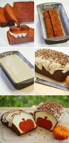 Surprise-Inside Cake Ideas (with pictures & recipes) Pumpkin pound cake with brown butter pecan icing.Pumpkin pound cake with brown butter pecan icing. Just Desserts, Delicious Desserts, Dessert Recipes, Yummy Food, Fall Desserts, Halloween Desserts, Halloween Baking, Health Desserts, Sweet Desserts