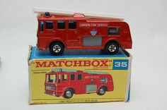 No.35 Merriweather Fire Engine Superfast w/Original Box by Matchbox Lesney England 60's toy Car Great Gift Idea Stocking Stuffer  for Dad by RememberWhenToys on Etsy