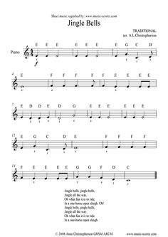 piano music by letters | Jingle Bells: Very Easy Piano sheet music by Christmas: Piano -