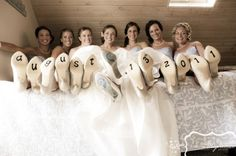 bridesmaids picture. love it~ every one has # or letters of date on shoes! way cute!