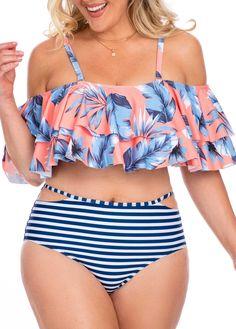 Spaghettibügel mit Rüschensaum Plus Size Bikini Set - Damen Mode Plus Size Bikini Bottoms, Women's Plus Size Swimwear, Curvy Swimwear, Trendy Swimwear, Cute Swimsuits, Bikini Moldes, Moda Praia Plus Size, Curvy Bikini, Plus Size Kleidung