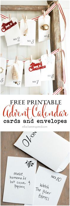 Free Printable Vintage Christmas Advent Calendar with adorable cards and envelopes for you to fill out for each day. Such a simple DIY idea for a cheap and easy advent calendar for your kids! Noel Christmas, Merry Little Christmas, Christmas Countdown, Winter Christmas, Vintage Christmas, Christmas Crafts, Christmas Decorations, Christmas Tables, Nordic Christmas