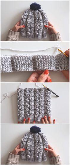 Crochet Beanie Hat With Pom Pom Knitting PatternsKnitting HatCrochet ProjectsCrochet Amigurumi Bonnet Crochet, Crochet Beanie Hat, Crochet Shawl, Beanie Hats, Crochet Stitches, Knitted Hats, Crochet Scarves, Beanies, Crochet Poppy