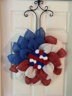 Nautical Wreath, Patriotic Wreath, Patriotic Decorations, 4th Of July Wreath, Burlap Flower Wreaths, Mesh Wreaths, Burlap Wreath, Memorial Day Wreaths, Teacup Candles