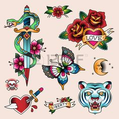 tatouage vintage: Jeu de couleurs tattoes vintage pour votre conception Illustration