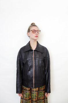 Vintage jacket / 60s 70s men's dark brown leather jacket by nemres