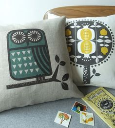 teal and yellow cushions.