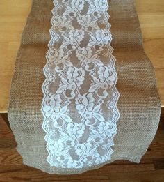 Table Runner --- Burlap and Lace Wedding Reception | Burlap & lace :) | Wedding: Lima Picnic Style Wedding Reception