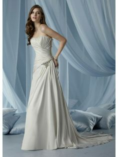 Tissue Satin Strapless Modified Sweetheart Side Draped Bodice A-line Wedding Dress