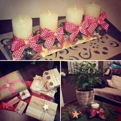 Dekoracja świąteczna, wieniec adwentowy, prezenty, pomysł na zdobienie