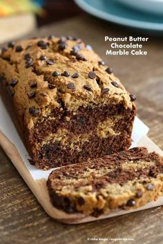 Almond or Peanut Butter Chocolate Marble Cake with chocolate chips. Easy Cake w/ marble layers. Vegan Palm Oil-free Recipe. How to make marble quick bread.