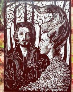 Dead Can Dance #art #print #artprocess #handcut #etching #deadcandance  #illustration #linocut