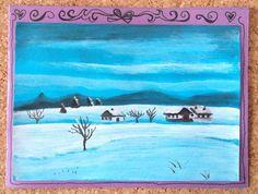 Paysage de neige, peint.