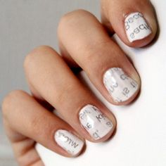 """Treat yourself to this unique """"newspaper nails"""" manicure. It's very simple, and you're sure to get compliments!"""