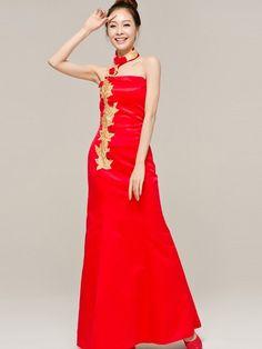 Red Halter Mandarin Collar Cheongsam / Qipao / Chinese Wedding Dress