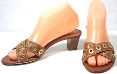 Women's Coach Brown Leather Strappy Sandals Slides Heels Shoes sz 6½B  | eBay
