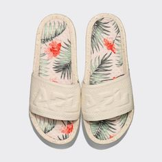 Women's Big Logo TechLoom Slide Pristine / Tropic | APL Shoes Apl Shoes, Cute Slides, Going Barefoot, Tone It Up, Running Training, Running Shoes, All About Time, Tropical, Sneakers