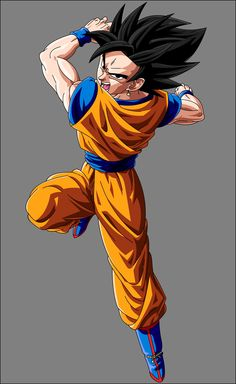 Goku and Gohan fan fusion- I'm bad with fusion names but I think it's Gokhan. Not sure though, it kinda looks like Vegito since of the hair and potara eye rings.