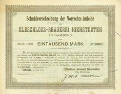 Elbschloss-Brauerei Nienstedten, Hamburg, Juli 1892, Blankett einer 4,5 % Schuldverschreibung der Vorrechts-Anleihe über 1.000 Mark, #8, 21,3 x 26,8 cm, grün, schwarz, etwas verschmutzt, sonst EF, Unikat aus der Jess-Sammlung, jetzt aus Sammlungsauflösung wieder verfügbar.