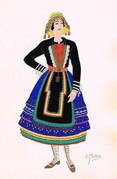 POCHOIR Print from COSTUMES ESPAGNOLES -1939- NOUVELLE-CASTILLE GIRL