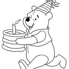 disney winnie the pooh running with birthday cake coloring pages - Pooh Bear Coloring Pages Birthday