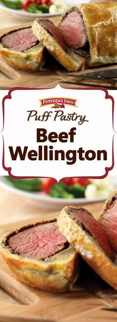 Pepperidge Farm Puff Pastry Beef Wellington Recipe Looking for an impressive dish for the holidays It takes a little time to put this dish together but its so simple to m. Beef Wellington Recipe, Wellington Food, Chicken Wellington, Meat Recipes, Dinner Recipes, Cooking Recipes, Sirloin Recipes, Fondue Recipes, Kabob Recipes