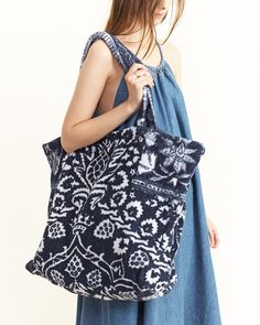 Tote Bag in Bohemian Damask Royal Blue By Fresco Towels ($96.00) - Svpply