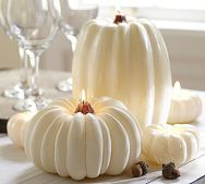 These are candles, and that could work too, but if I have a fall wedding I really like the idea of incorporating white pumpkins.
