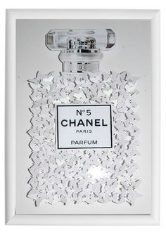 Butterfly picture Chanel no 5 with lots of butterflies, Bespoke luxury Unique *UNIQUE TO FLUTTER FRAMES* Can be personalised  Handcrafted using over 150 hand punched butterflies  The background is white gloss   If you are looking for a unique gift idea, this stunning 3d picture wall art makes the perfect anniversary gift, wedding gift, birthday gift or simply a special occasion gift for that special someone.  Brighten up an empty wall with this gorgeous 3D wall art. These pictures are sure…