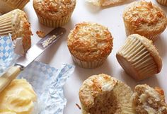 Light and sweet, these rye- and coconut-flour enhanced muffins make an out-of-the-ordinary breakfast treat. Muffin Recipes, Baking Recipes, Flour Recipes, Baking Ideas, Bread Recipes, No Bake Desserts, Dessert Recipes, Breakfast Recipes, Breakfast Ideas