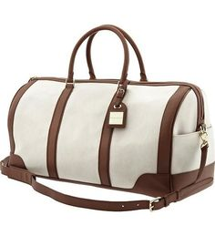 This Banana Republic Ines weekender bag has first-class traveler written all over it — we love the luxe pairing of creamy ivory and more masculine brown. Travel Luggage, Travel Bags, Petunia, Beautiful Bags, Fashion Bags, Leather Bag, Pink Leather, Purses And Bags, Herschel