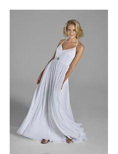 A-Line/Princess spaghetti straps Brush Train  wedding dress(WEDS0023)