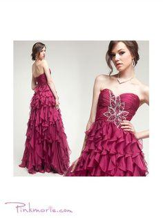 Victorian Purple Layered Silk Chiffon Beaded Prom Dress