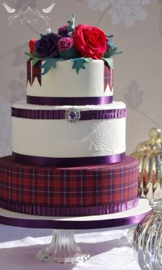 Romeo & Juliet Cakes - Alba Wedding Cake with sugar tartan, edible lace, amethyst brooch, purple theme, thistles and roses, scottish wedding cake